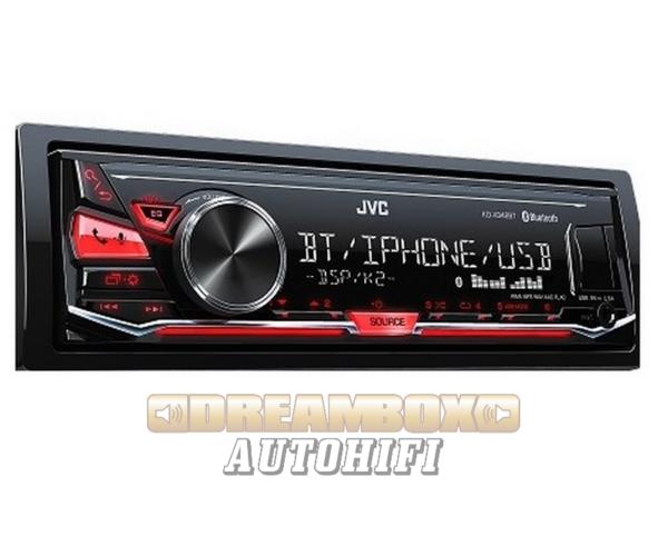JVC KD-X342BT Mechanika nélküli autórádió, Bluetooth funkcióval, piros megvilágítással