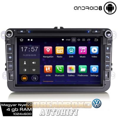 Új, Garanciális VOLKSWAGEN Gyári Kinézetű AutóHifi GPS Navigáció (Passat, VW Golf 6, Golf 5, VW Jetta, Polo) (4GB RAM, Magyar Nyelvű) ANDROID 8